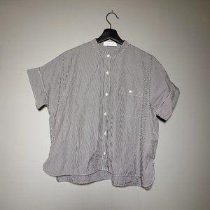 EVERLANE Cotton Poplin Collarless Square Shirt, 6